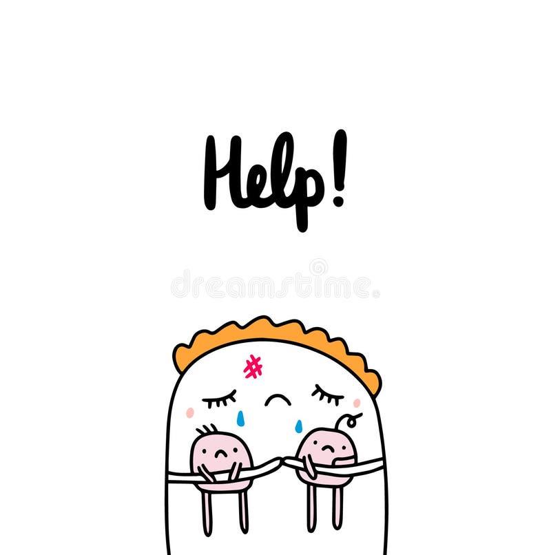 Ejemplo exhausto de la mano de la ayuda en la madre del estilo de la historieta que llora deteniendo a pequeños niños stock de ilustración
