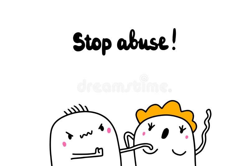 Ejemplo exhausto de la mano del abuso de la parada con los pares de la historieta stock de ilustración
