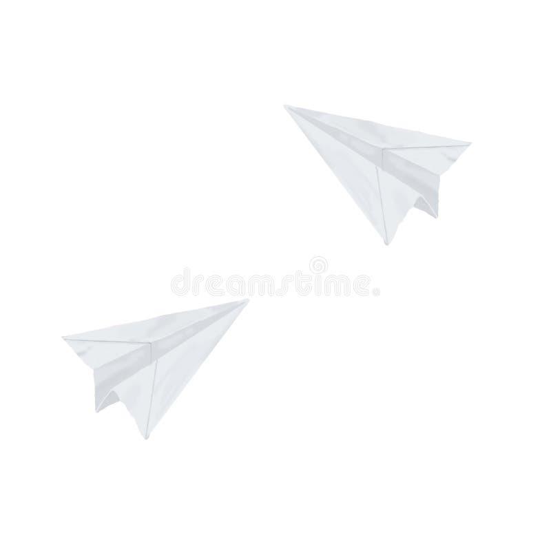 Ejemplo exhausto de la mano del estilo del clip art del cepillo de la acuarela del aeroplano de papel de la papiroflexia en el fo stock de ilustración