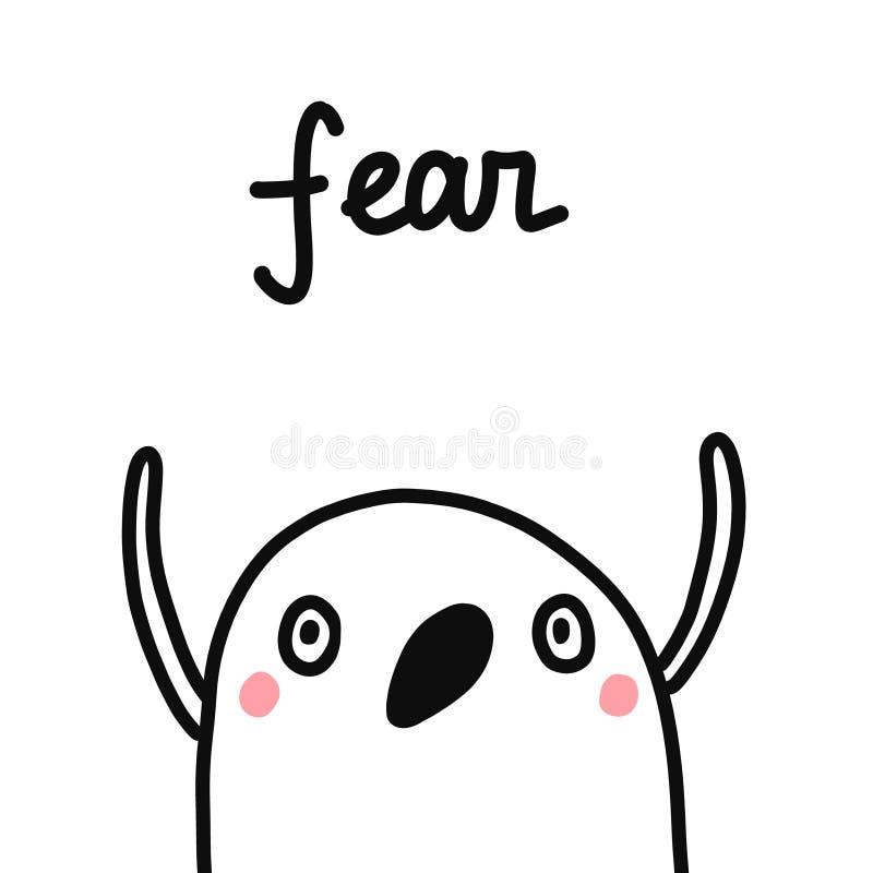 Ejemplo exhausto de la mano del miedo para las emociones y las sensaciones psicológicas de la psicoterapia de los diarios de los  stock de ilustración