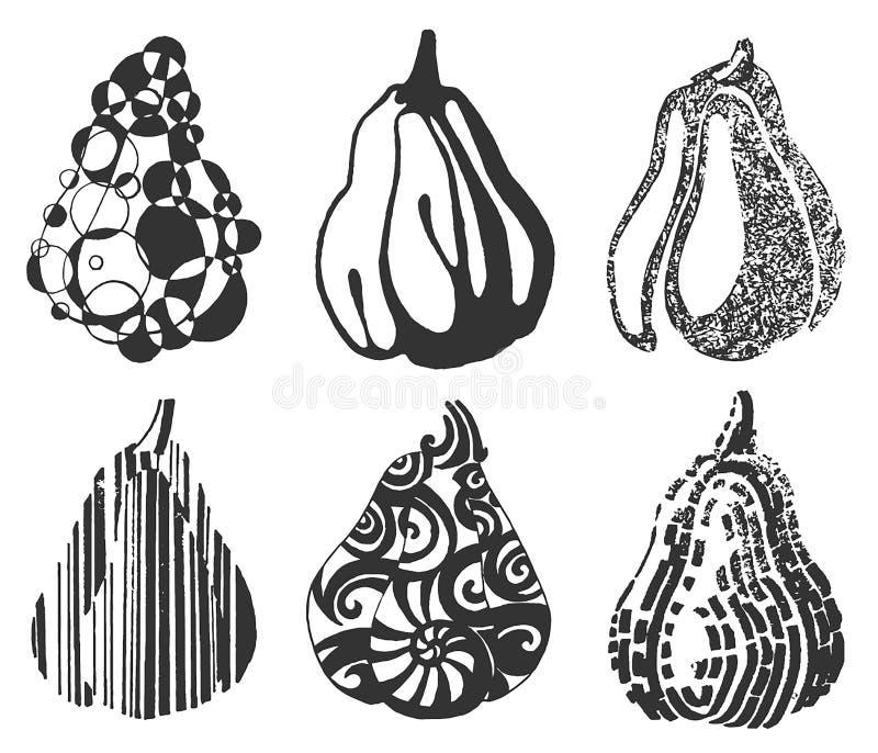 Ejemplo exhausto de la mano del vector del stylization de la fruta en el fondo blanco ilustración del vector
