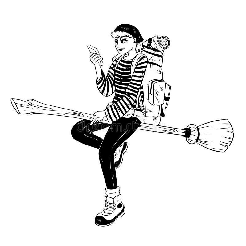 Ejemplo exhausto de la mano del vector de una bruja moderna del backpacker que vuela stock de ilustración