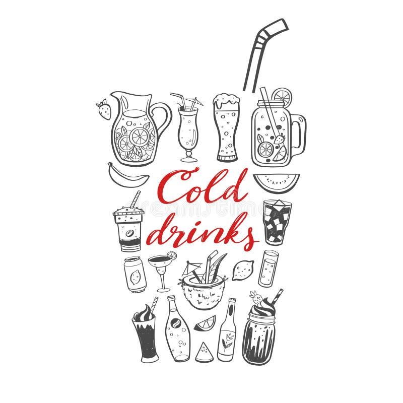 Ejemplo exhausto de la mano del vector y caligrafía manuscrita de bebidas y de bebidas frías del verano Garabato conceptual stock de ilustración