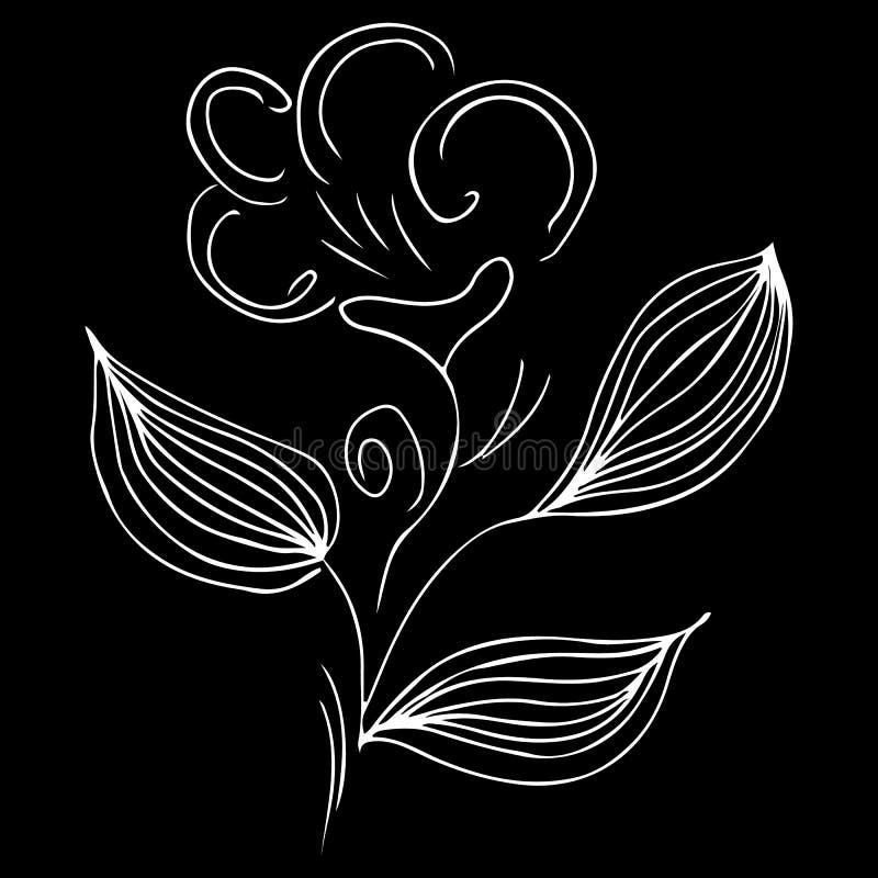 Ejemplo exhausto de la mano moderna con la línea de mano negra del esquema de la flor en el fondo blanco Ejemplo simple del vecto ilustración del vector