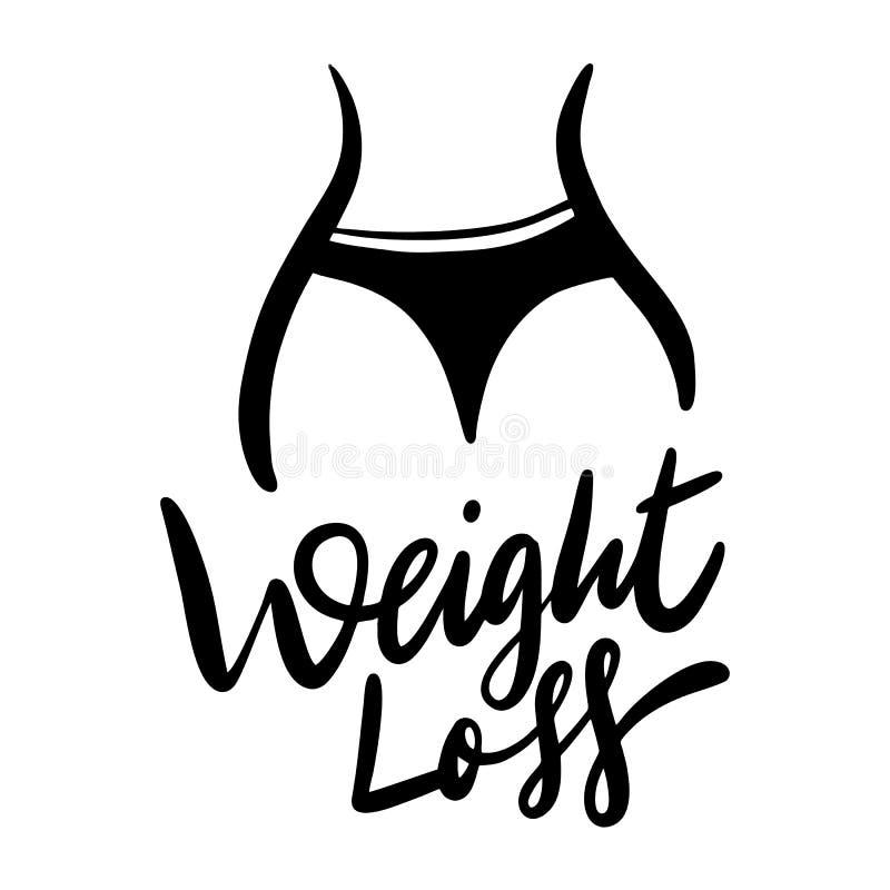 Ejemplo exhausto de la mano de la pérdida de peso Aislado en el fondo blanco Mujeres con una cintura gorda stock de ilustración