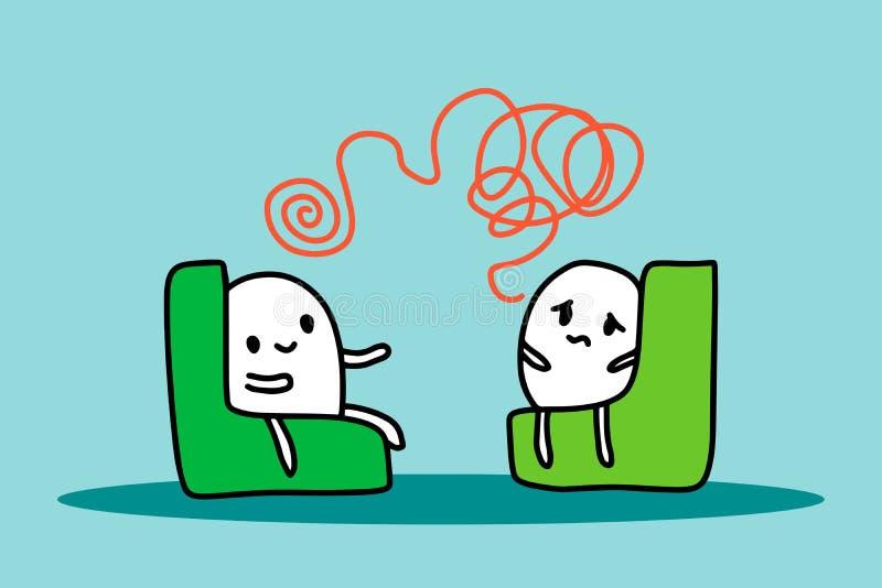 Ejemplo exhausto de la mano de la sesión de la psicoterapia con el hombre de la historieta que se sienta en silla Minimalismo del stock de ilustración