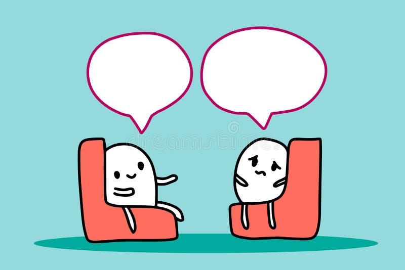 Ejemplo exhausto de la mano de la sesi?n de la psicoterapia con el hombre de la historieta que se sienta en silla Minimalismo del libre illustration