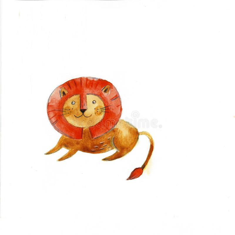 Ejemplo exhausto de la mano de un león divertido lindo en una corona Objetos aislados Dise?o plano del estilo escandinavo Concept libre illustration