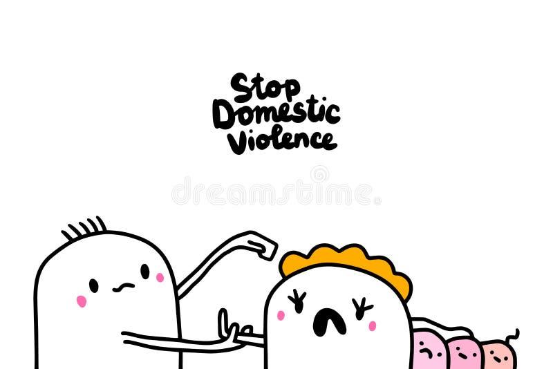 Ejemplo exhausto de la mano de la violencia doméstica de la parada en estilo de la historieta libre illustration