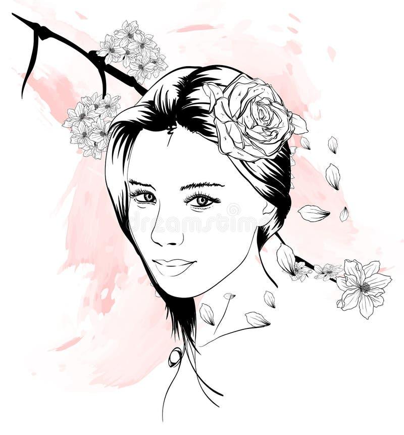 Ejemplo exhausto de la moda de la mano de la cara de la muchacha Cara femenina Mujer hermosa con las flores en su pelo stock de ilustración
