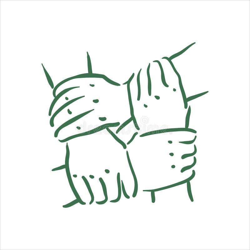 Ejemplo exhausto de las manos del equipo de la mano del vector en el fondo blanco stock de ilustración