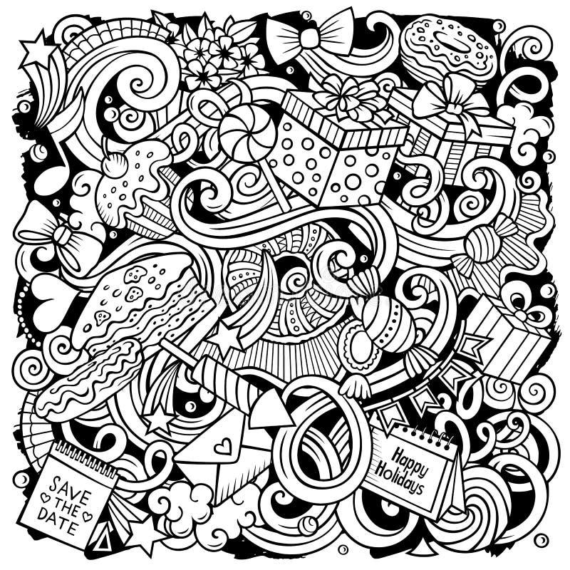 Ejemplo exhausto de los garabatos del vector de la mano del día de fiesta Diseño del cartel del cumpleaños stock de ilustración