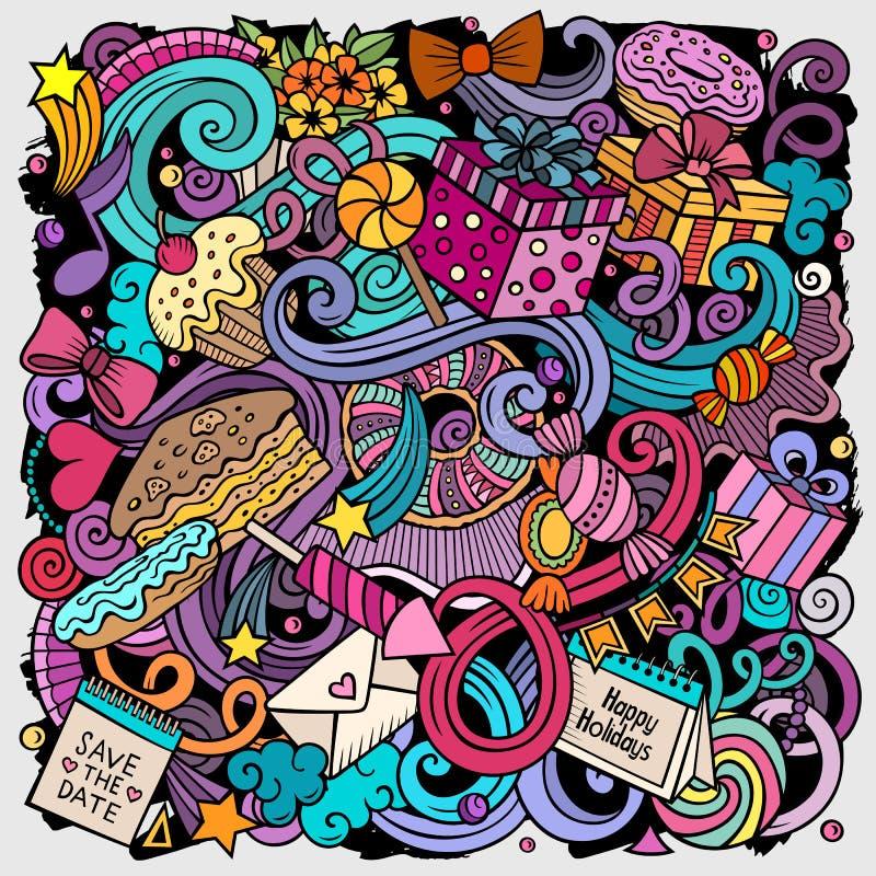 Ejemplo exhausto de los garabatos del vector de la mano del día de fiesta Diseño del cartel del cumpleaños ilustración del vector
