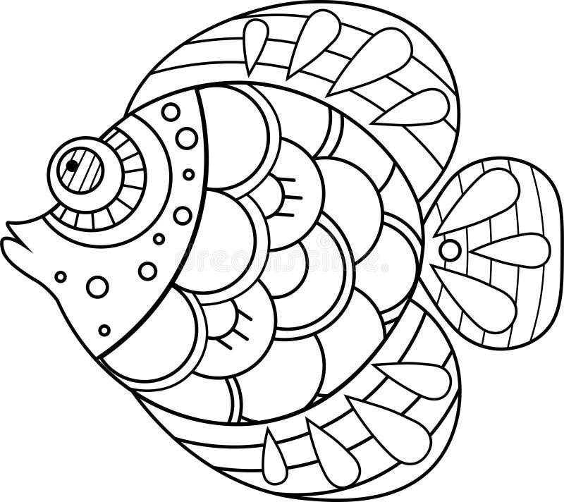 Ejemplo exhausto de los pescados de la mano decorativa del garabato Dibujo del pez de colores stock de ilustración