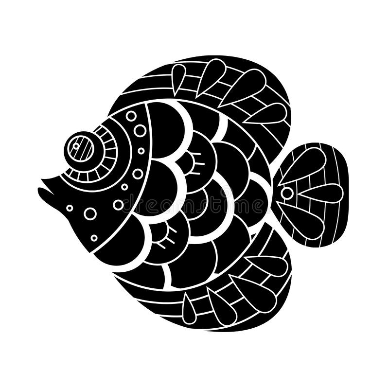 Ejemplo exhausto de los pescados de la mano decorativa del garabato Dibujo del pez de colores libre illustration