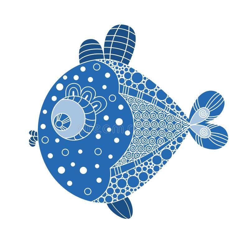 Ejemplo exhausto de los pescados de la mano decorativa del garabato Dibujo del pez de colores ilustración del vector
