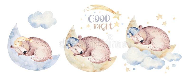 Ejemplo exhausto de sueño lindo de la acuarela de la mano animal del oso de la historieta Moda del desgaste del cuarto de niños d libre illustration