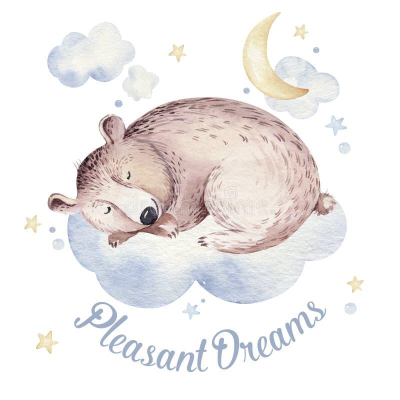 Ejemplo exhausto de sueño lindo de la acuarela de la mano animal del oso de la historieta Moda del desgaste del cuarto de niños d ilustración del vector