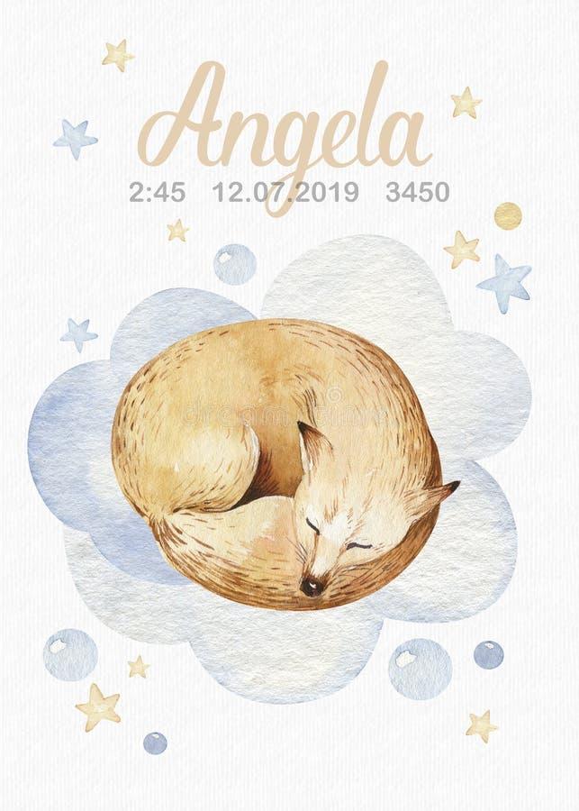 Ejemplo exhausto de sueño lindo de la acuarela de la mano animal del zorro de la historieta Diseño de la moda del desgaste del cu stock de ilustración
