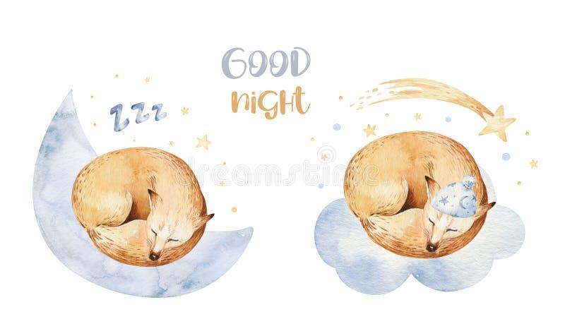 Ejemplo exhausto de sueño lindo de la acuarela de la mano animal del zorro de la historieta Diseño de la moda del desgaste del cu libre illustration