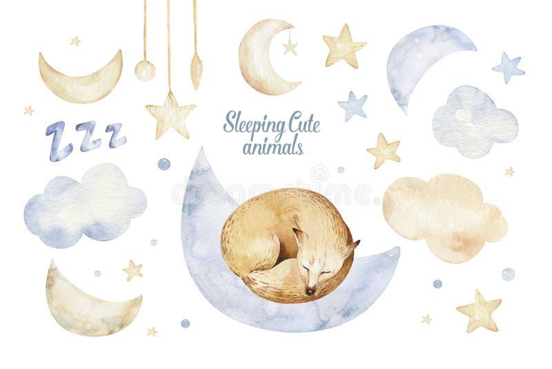 Ejemplo exhausto de sueño lindo de la acuarela de la mano animal del zorro de la historieta Diseño de la moda del desgaste del cu ilustración del vector