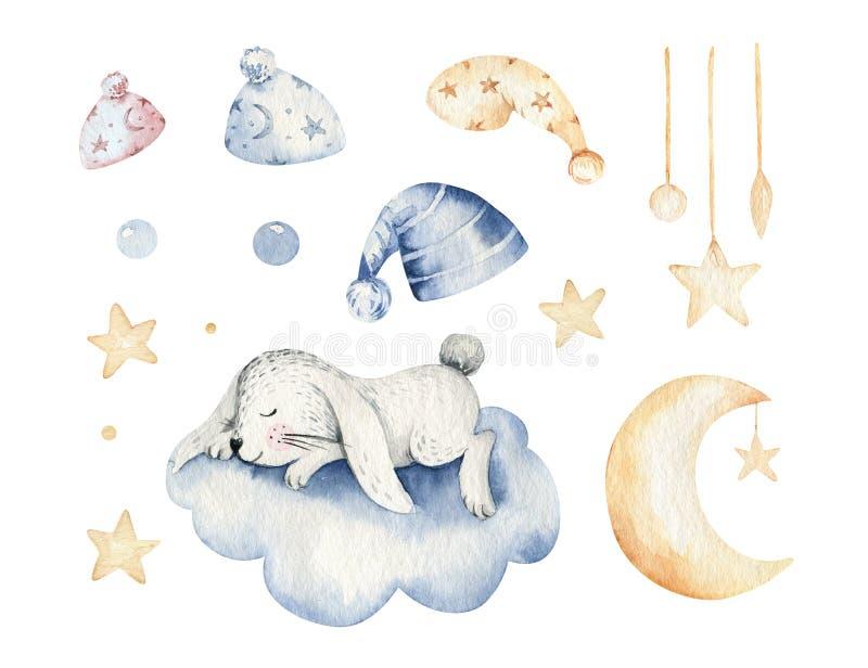 Ejemplo exhausto de sueño lindo de la acuarela de la mano animal de la historieta Diseño de la moda del desgaste del cuarto de ni stock de ilustración