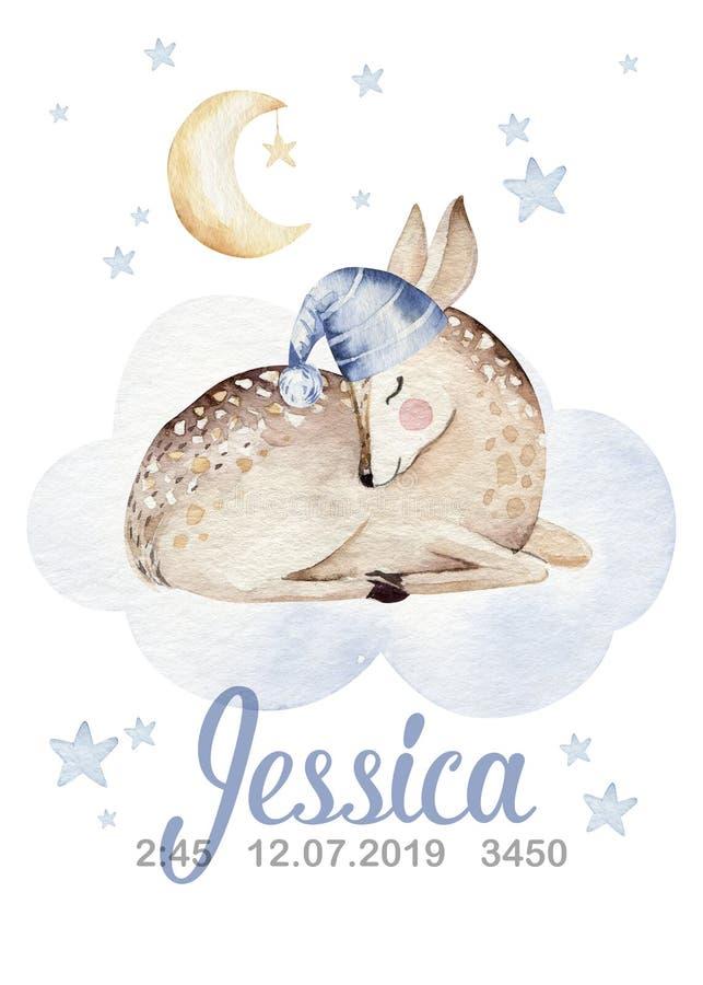 Ejemplo exhausto de sueño lindo de la acuarela de la mano animal de la historieta Diseño de la moda del desgaste del cuarto de ni libre illustration