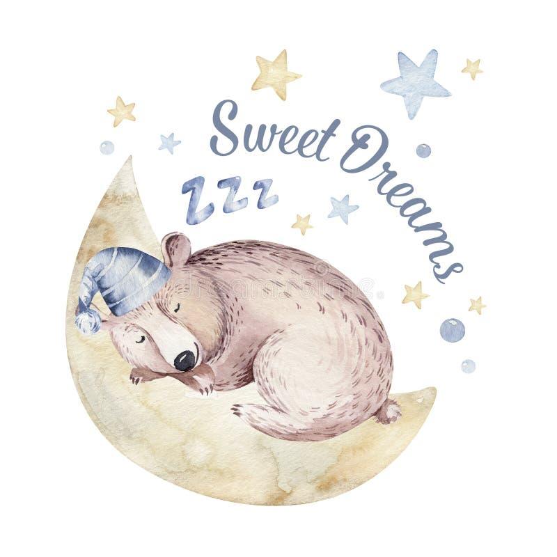 Ejemplo exhausto de sueño lindo de la acuarela de la mano animal de la historieta Diseño de la moda del desgaste del cuarto de ni ilustración del vector