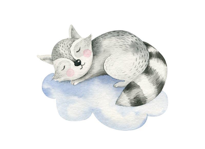 Ejemplo exhausto de sueño lindo de la acuarela de la mano animal de la historieta de la historieta Moda del desgaste del cuarto d stock de ilustración