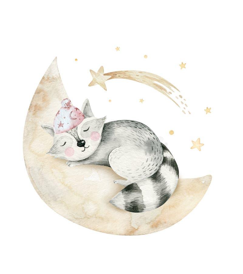 Ejemplo exhausto de sueño lindo de la acuarela de la mano animal de la historieta de la historieta Moda del desgaste del cuarto d libre illustration