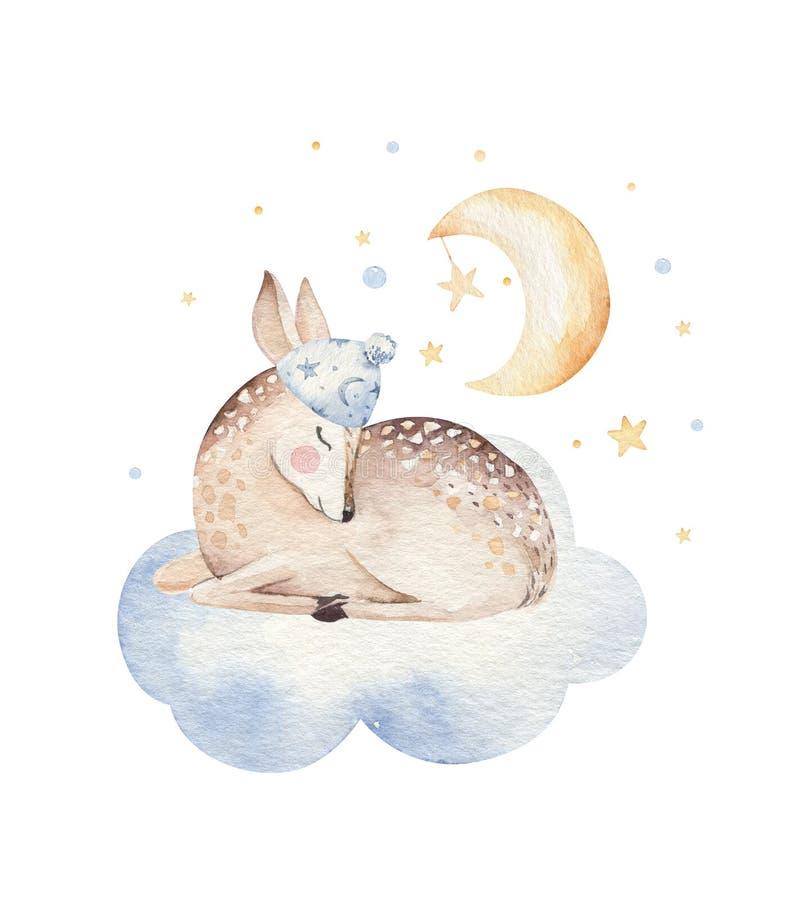 Ejemplo exhausto de sueño lindo de la acuarela de la mano animal de los ciervos de la historieta Moda del desgaste del cuarto de  ilustración del vector