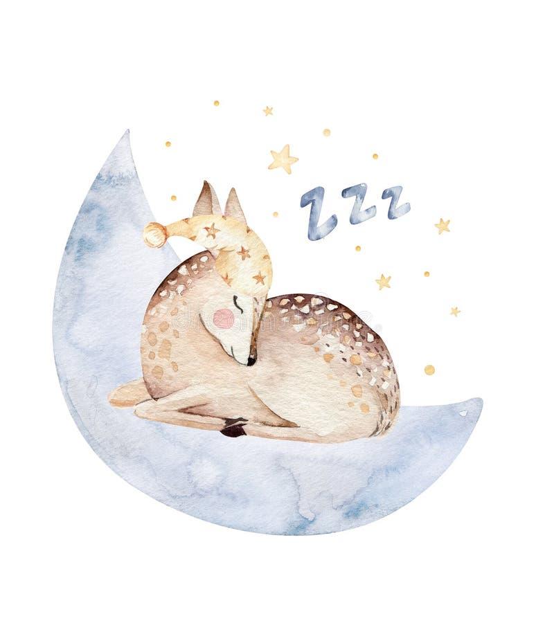 Ejemplo exhausto de sueño lindo de la acuarela de la mano animal de los ciervos de la historieta Moda del desgaste del cuarto de  stock de ilustración