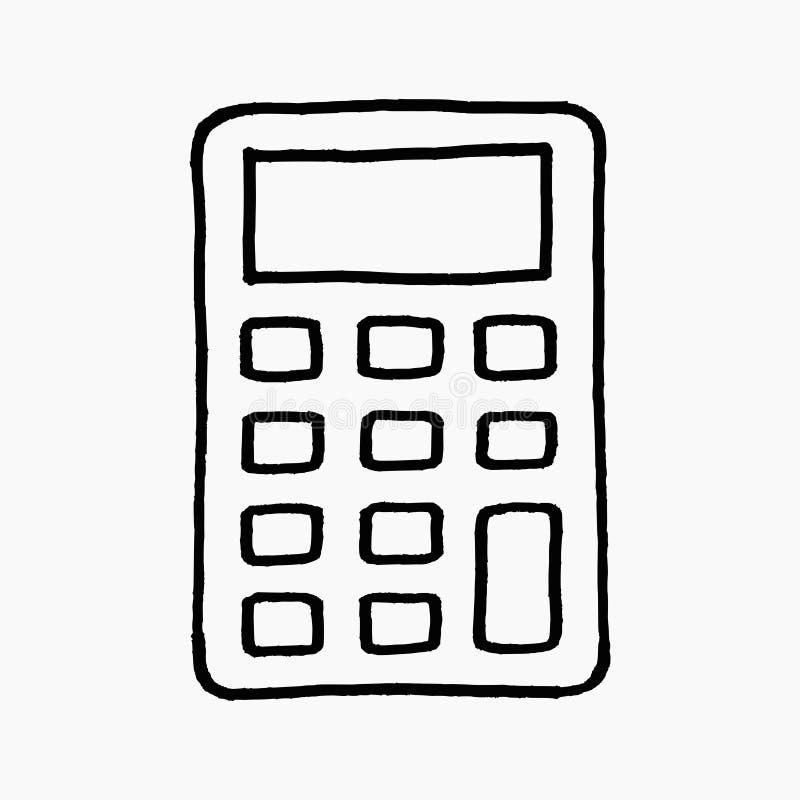 Ejemplo exhausto del garabato del vector de la mano de un icono de la calculadora aislado en el fondo blanco libre illustration