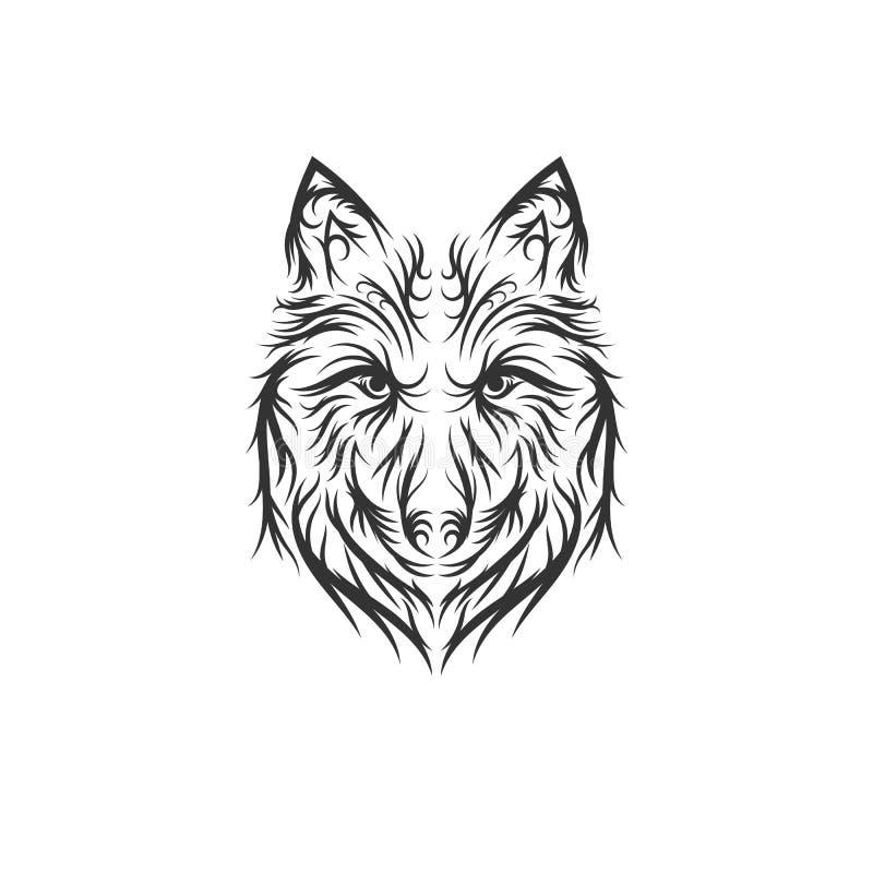 Ejemplo exhausto del lobo de la mano stock de ilustración