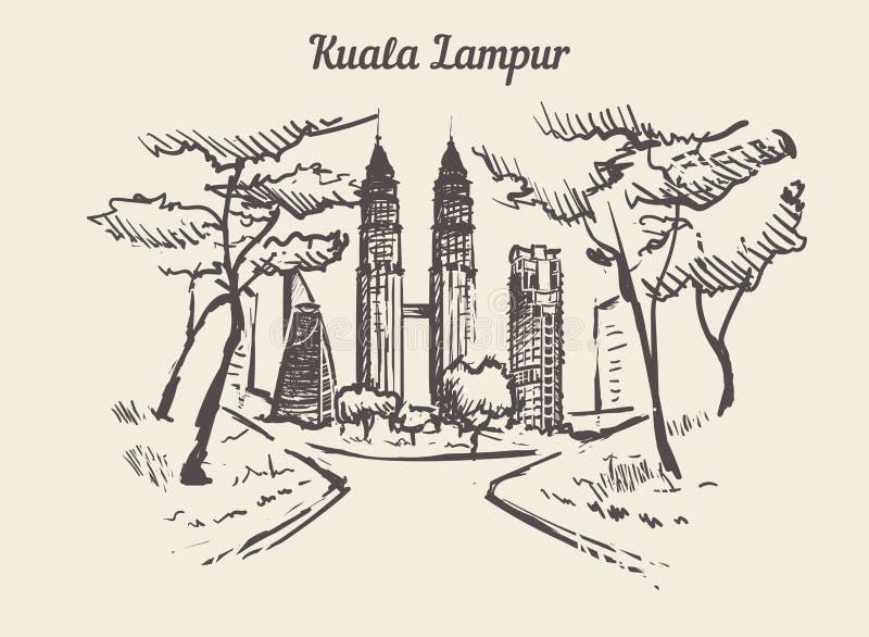 Ejemplo exhausto del vector del bosquejo de la mano de Kuala Lampur ilustración del vector