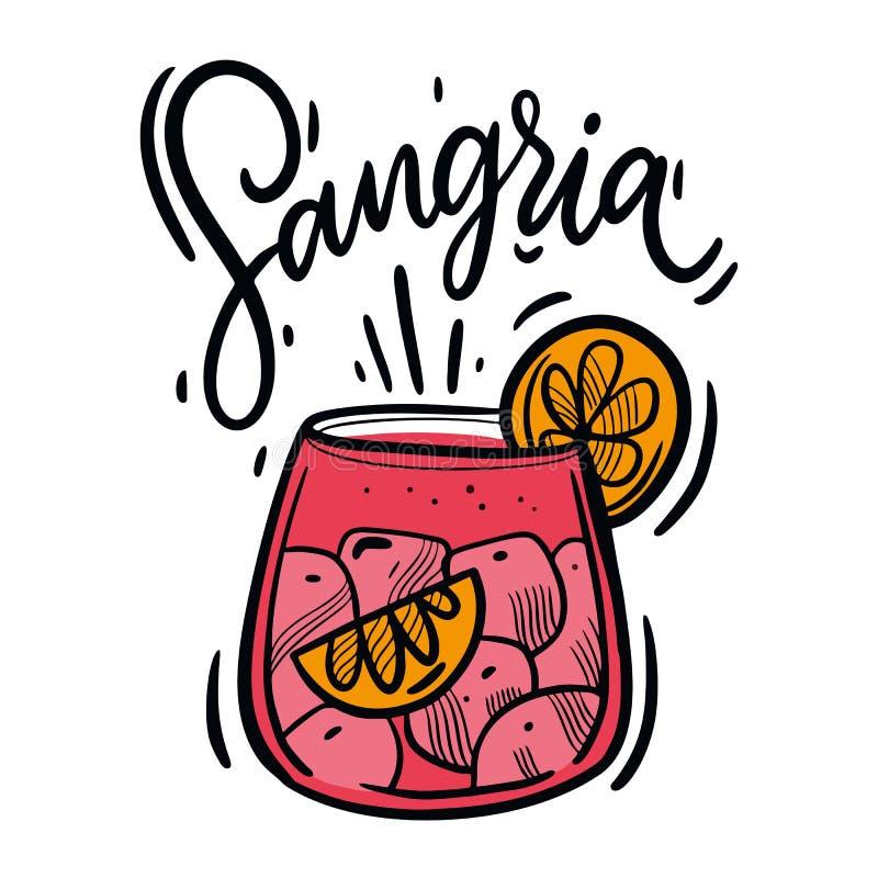 Ejemplo exhausto del vector del cóctel del verano de la sangría de la mano Bebida española tradicional libre illustration