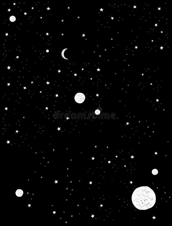 Ejemplo exhausto del vector de la galaxia de la mano abstracta simple para la tarjeta, cartel, arte de la pared, decoración stock de ilustración