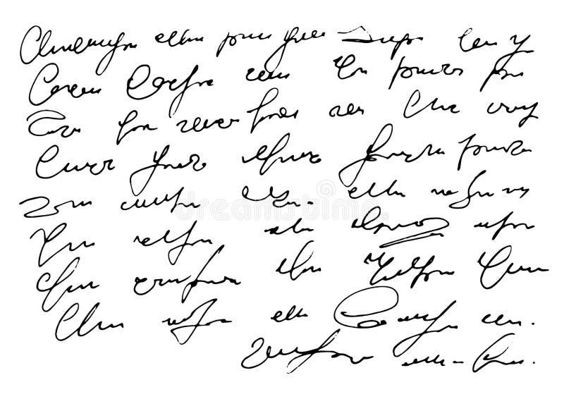 Ejemplo exhausto del vector de la mano del fondo blanco del texto ilegible ilustración del vector