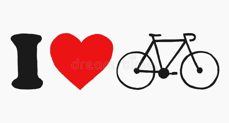 Ejemplo exhausto del vector de la mano que representa 'la bicicleta del amor de I 'amo mi concepto de la bici aislado en el fondo libre illustration