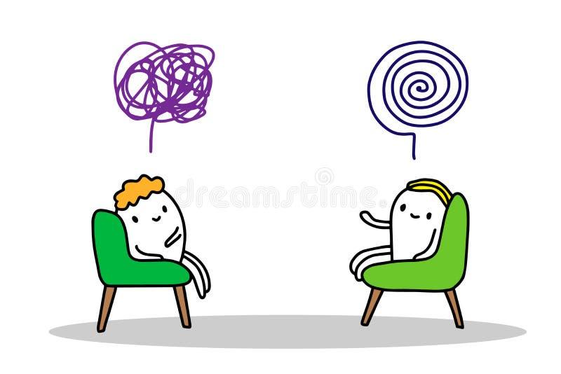 Ejemplo exhausto del vector de la mano de la sesión de la psicoterapia en estilo de la historieta Sentada de dos mangos en hablar ilustración del vector