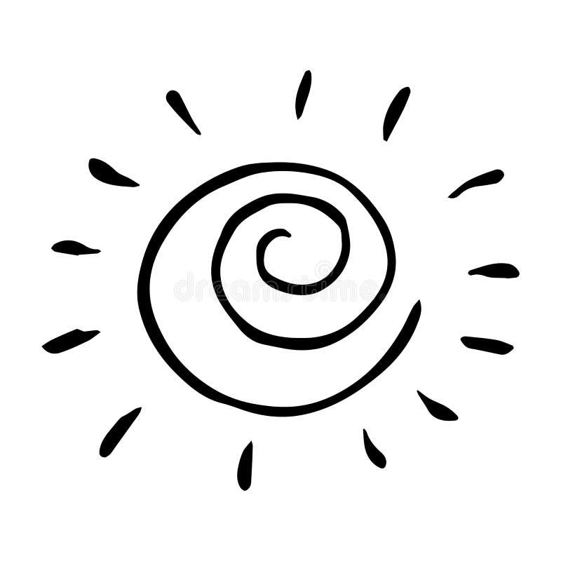 Ejemplo exhausto del vector del sol de la mano blanco y negro ilustración del vector