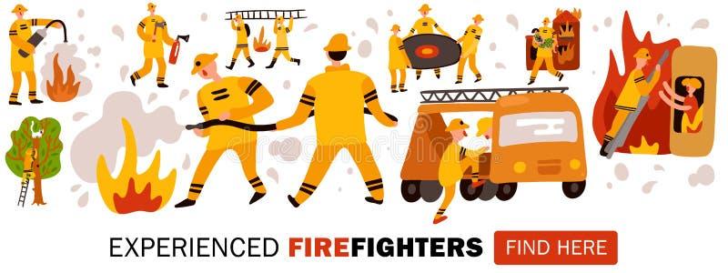 Ejemplo experimentado del jefe de los bomberos stock de ilustración