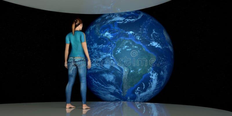 Ejemplo extremadamente detallado y realista de la alta resolución 3D del astronauta de sexo femenino que mira la tierra Tirado de stock de ilustración