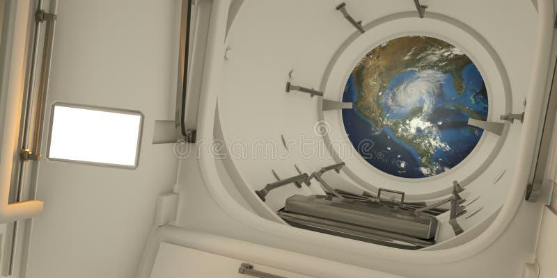Ejemplo extremadamente detallado y realista de la alta resolución 3D del interior de la estación espacial internacional Elementos libre illustration