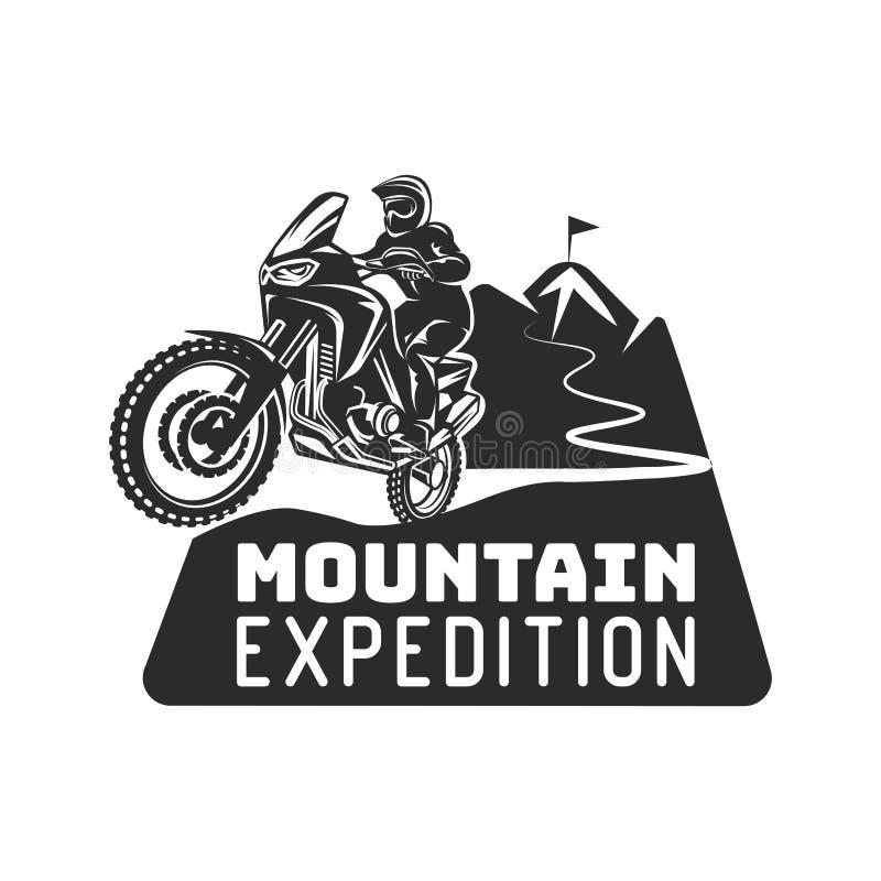 Ejemplo extremo del monocromo del logotipo del conductor de motocicleta del enduro de la raza del motocrós ilustración del vector