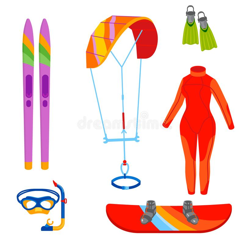 Ejemplo extremo kiteboarding de la reconstrucción del verano de la actividad del mar del ocio de la navegación de la persona que  ilustración del vector