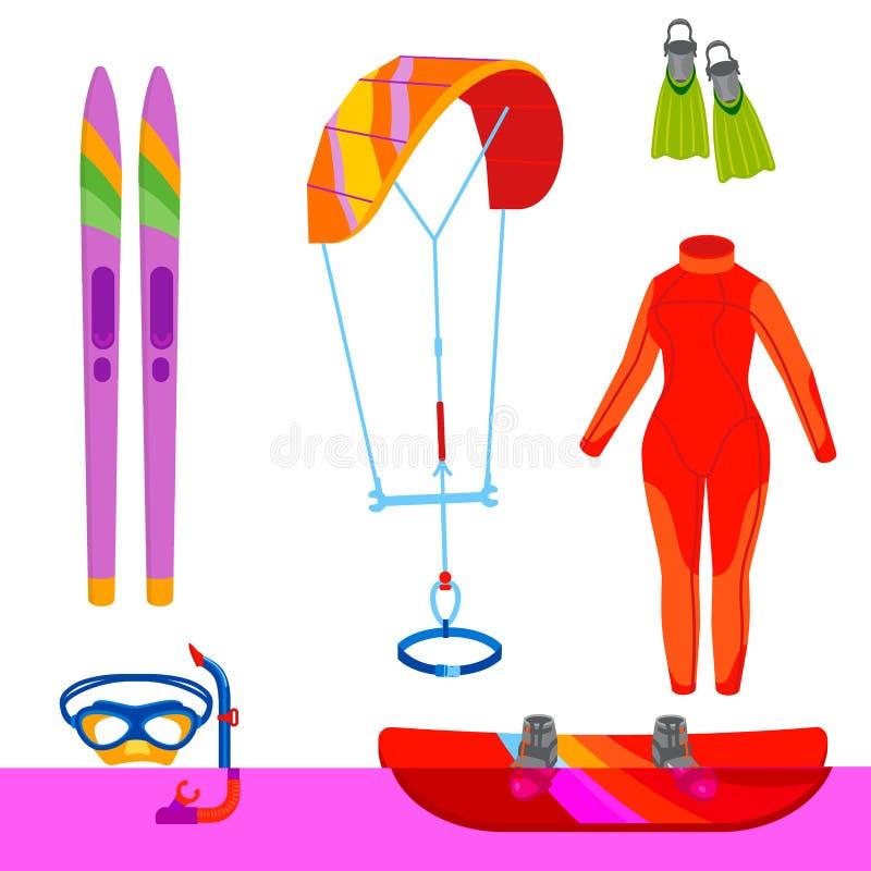 Ejemplo extremo kiteboarding del vector de la reconstrucción del verano de la actividad del mar del ocio de la navegación de la p libre illustration