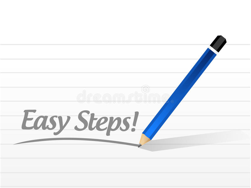 ejemplo fácil del mensaje de la muestra de los pasos stock de ilustración