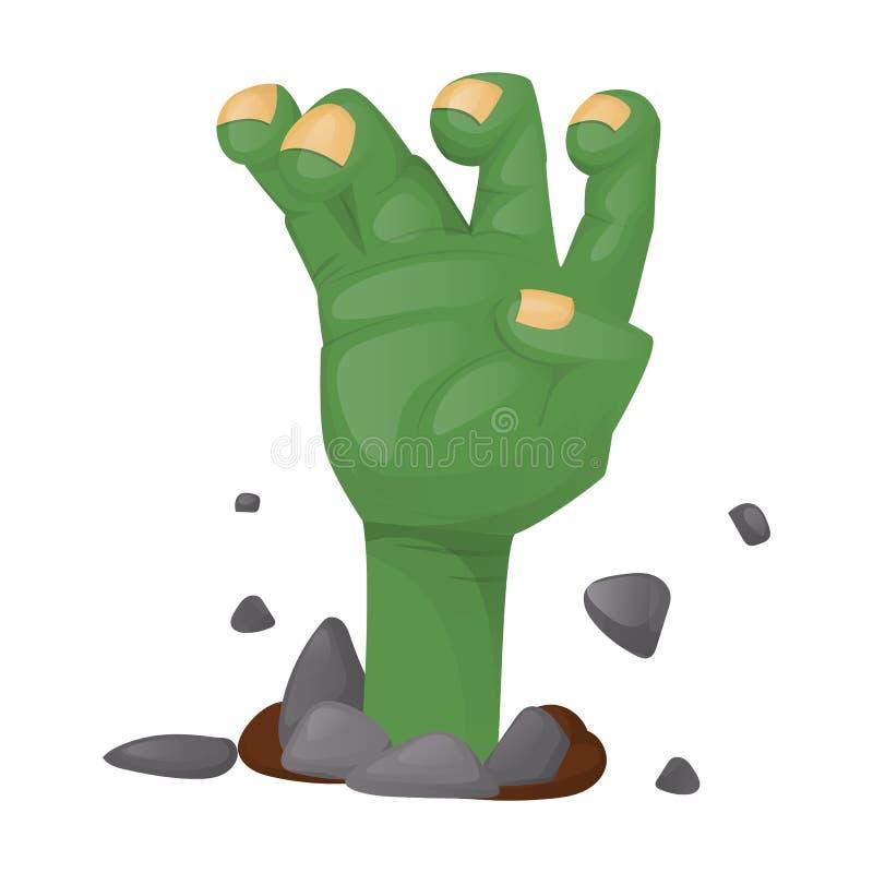 Ejemplo fantasmagórico del vector del carácter de la mano asustadiza del zombi del partido de Halloween Tarjeta de la invitación  libre illustration