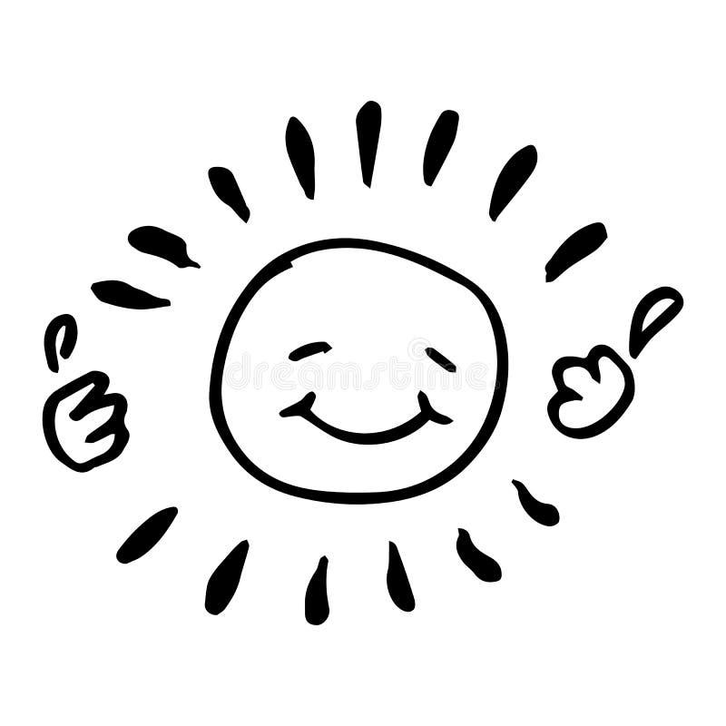 Ejemplo feliz blanco y negro creativo del vector del sol foto de archivo